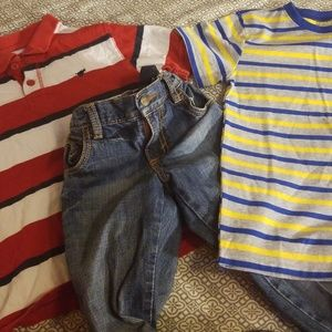 Other - Boys outfit 1 polo, 1 tee, Jean's size 7